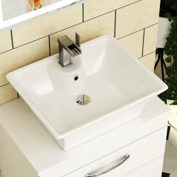 Amaze Square Counter Top Basin Vessels 480mm 1 Tap Hole