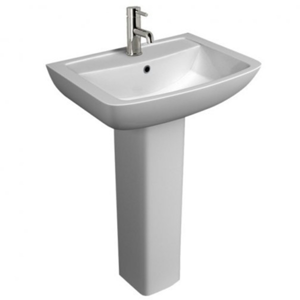 Pure 550mm Bathroom Basin & Full Pedestal with 1 Tap Hole - White