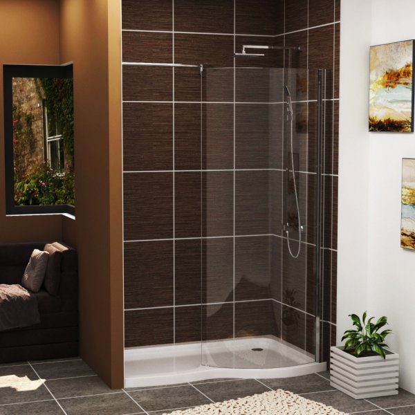 Elegance Wet Room Shower Screen 8mm Easy Clean Glass with 1400 x 900mm Shower Tray Right Handed