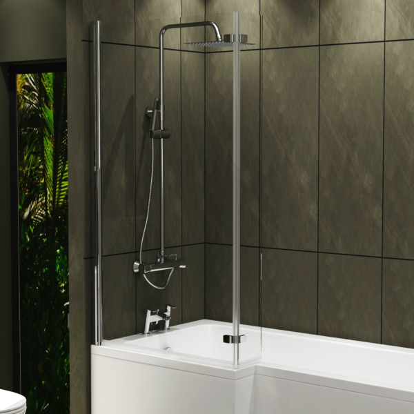 L Shaped Shower Bath 6mm Hinged Screen with Flipper End Panel 1400mm High x 780mm Wide