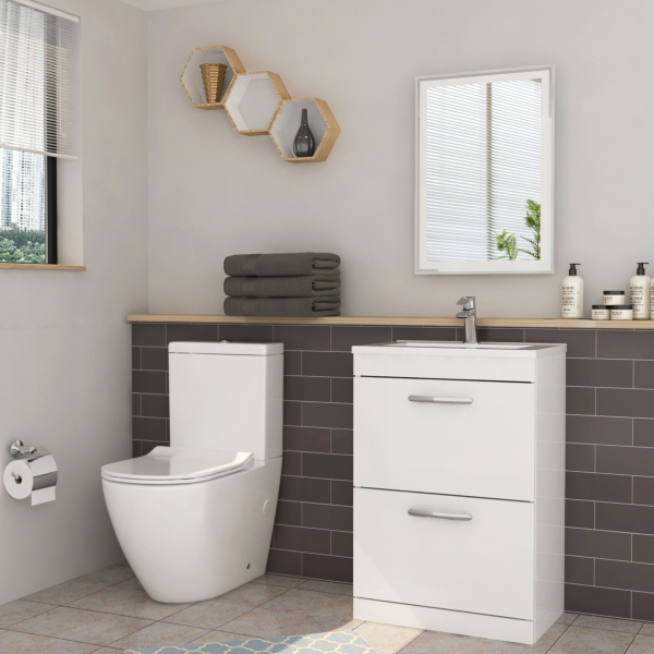 Turin 500mm Gloss White 2-Drawer Vanity Unit with Minimalist Basin and Abacus Toilet - Optional Seat