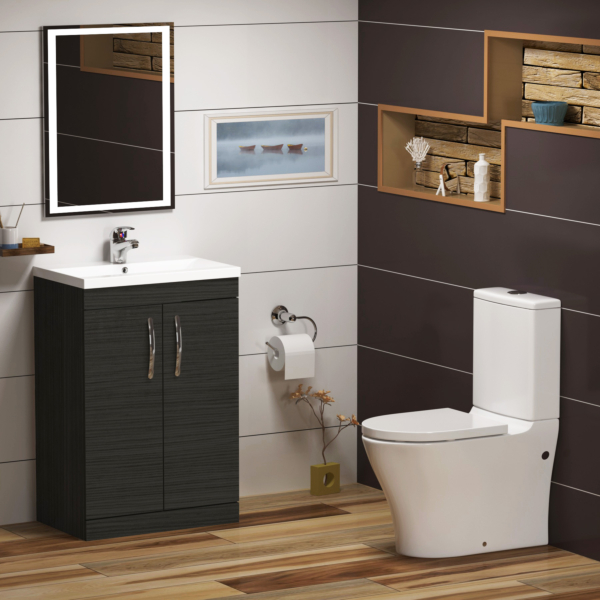 Cloakroom suite 800mm Hale Black 2 Door Floor Standing Vanity Unit With Close Coupled Toilet and Soft Close Seat