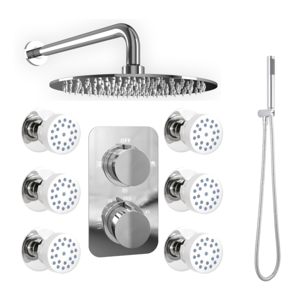 250mm Triple Function Slimline Round Wall Shower Set with Twin Thermostatic Shower Valve, 6 Body Jets and Handset