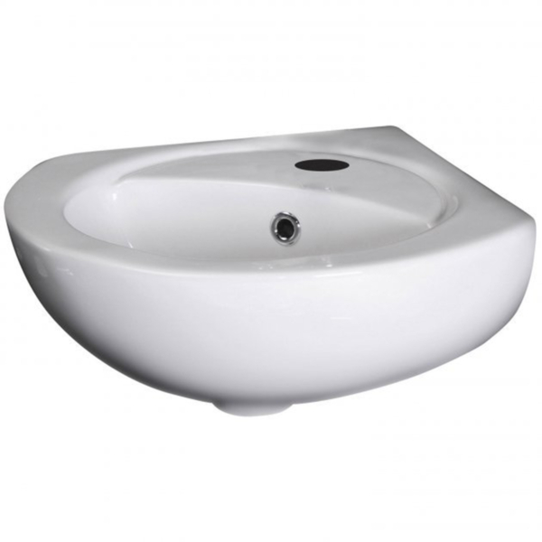 Nuie Round 450mm Melbourne Corner Wall Hung bathroom Basin with 1 Tap Hole - Gloss White