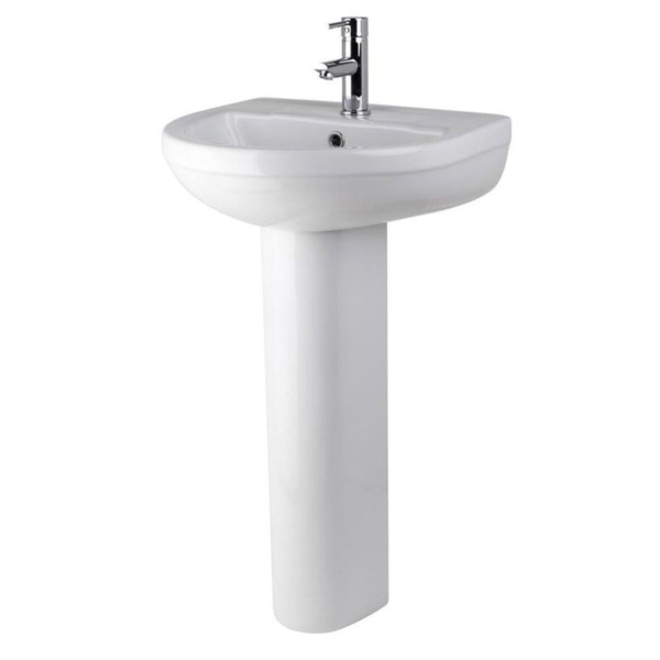 Nuie Round 500mm Harmony Bathroom Basin & Full Pedestal with 1 Tap Hole - Gloss White