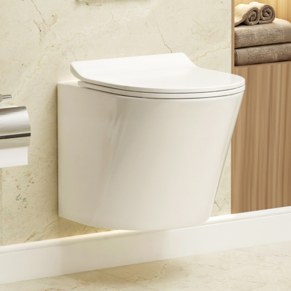 Cesar Short Projection Wall Hung Rimless Toilet and Soft Close Slim Seat