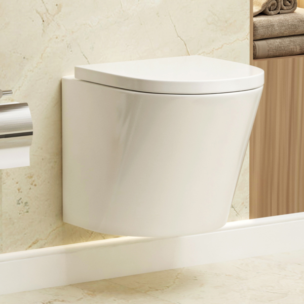 Cesar Short Projection Wall Hung Rimless Toilet and Soft Close Seat
