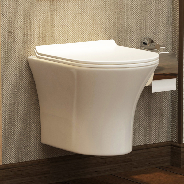 Breeze Short Projection Wall Hung Rimless Toilet with Slim Soft Close Seat