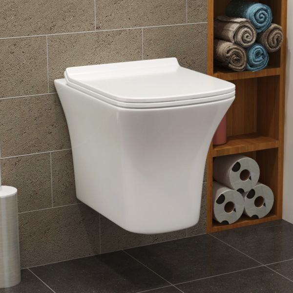 Cube Short Projection Wall Hung Rimless Toilet with Slim Soft Close Seat