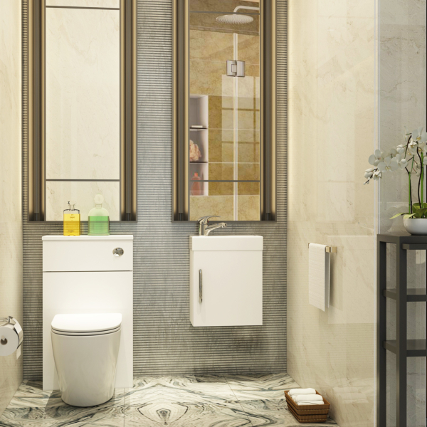 Cloakroom Suite Gloss White 400mm 1 Door Wall Hung Vanity Unit with BTW WC Unit & Abacus Toilet - Optional Seat